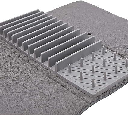 tapis egouttoir vaisselle microfibre et silicone i tapis de sechage vaisselle microfibre i tapis de vaisselle avec egouttoir vaisselle gris