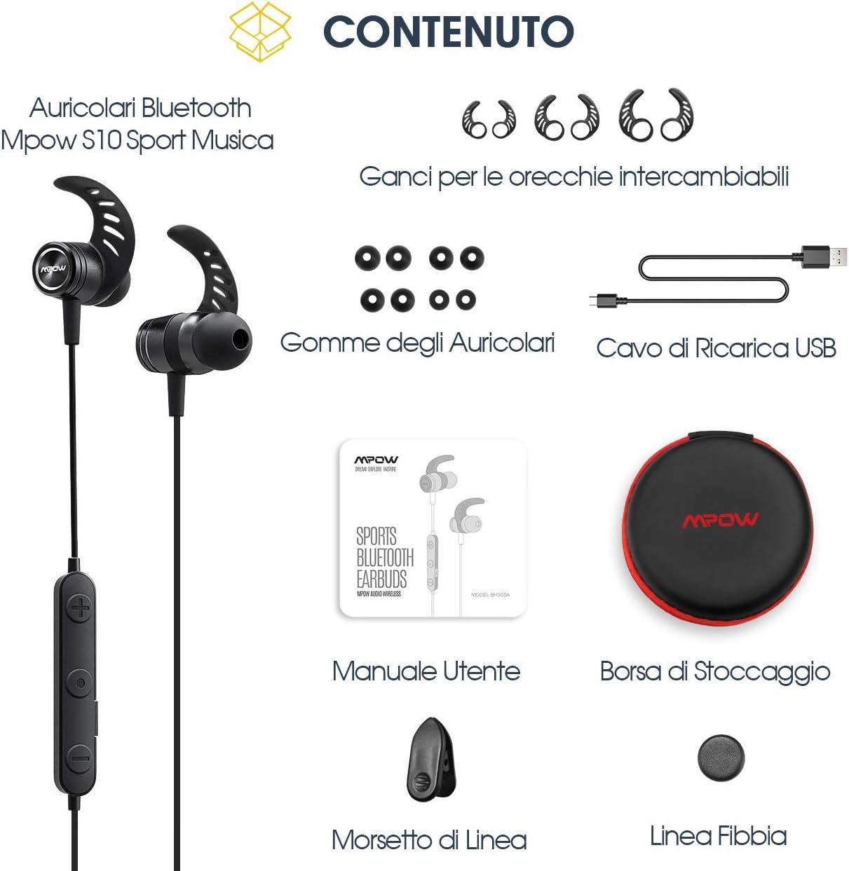 mpow auriculares Bluetooth Deporte 4.1 magnéticos de trabajo ...