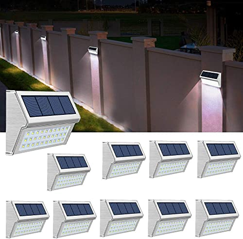 ROSHWEY Solar Deck Lights Outdoor, Waterproof Step Lamps Stainless Steel Bright 30 LED Walkway Security Lights for Garden Fence Patio Pathway Cool White Light, 10 Pack