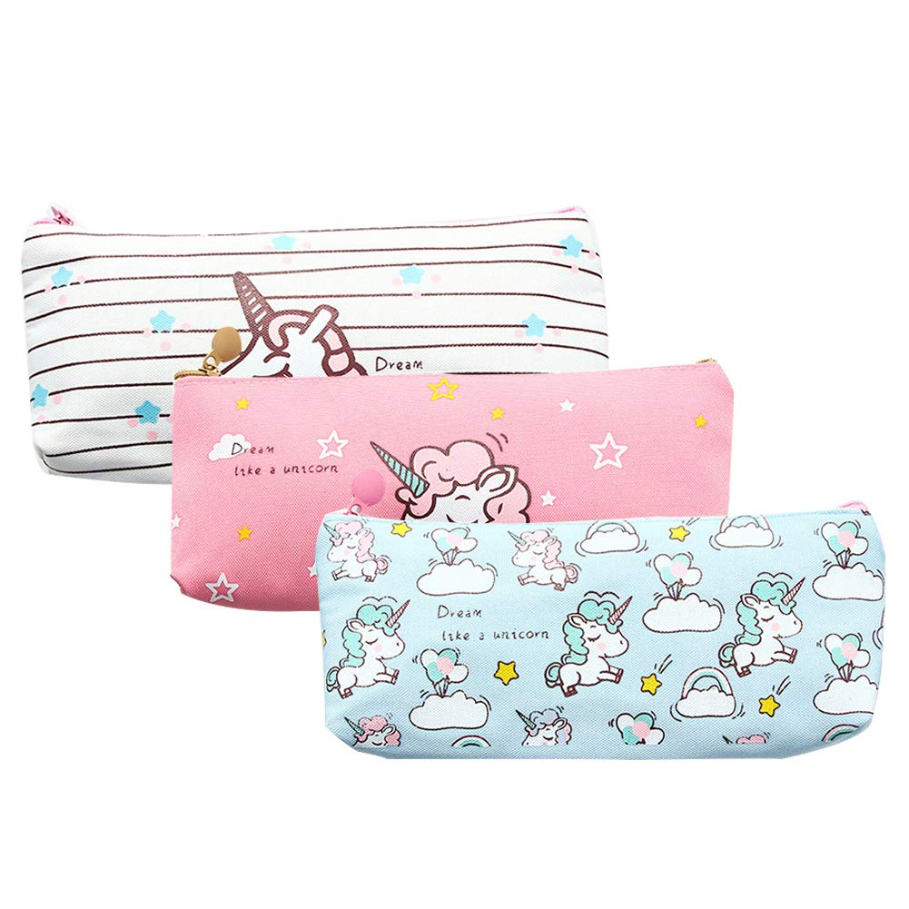 Unicorn Pen Bag Holder,Makeup Bag Canvas Zipper Pouch for girls Stationery Purse Cute Wallet Cosmetic Bags Travel Small Case Sets 3Pcs