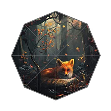 zlfのlove personalizado Fox Deep Sleep en bosque arte plegable paraguas