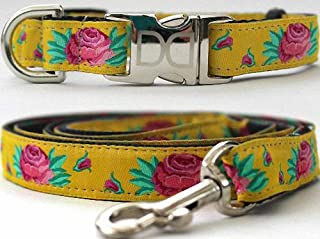 """product image for Diva-Dog 'Spanish Rose' Custom Small Dog 5/8"""" Wide Dog Collar with Plain or Engraved Buckle, Matching Leash Available - Teacup, XS/S"""