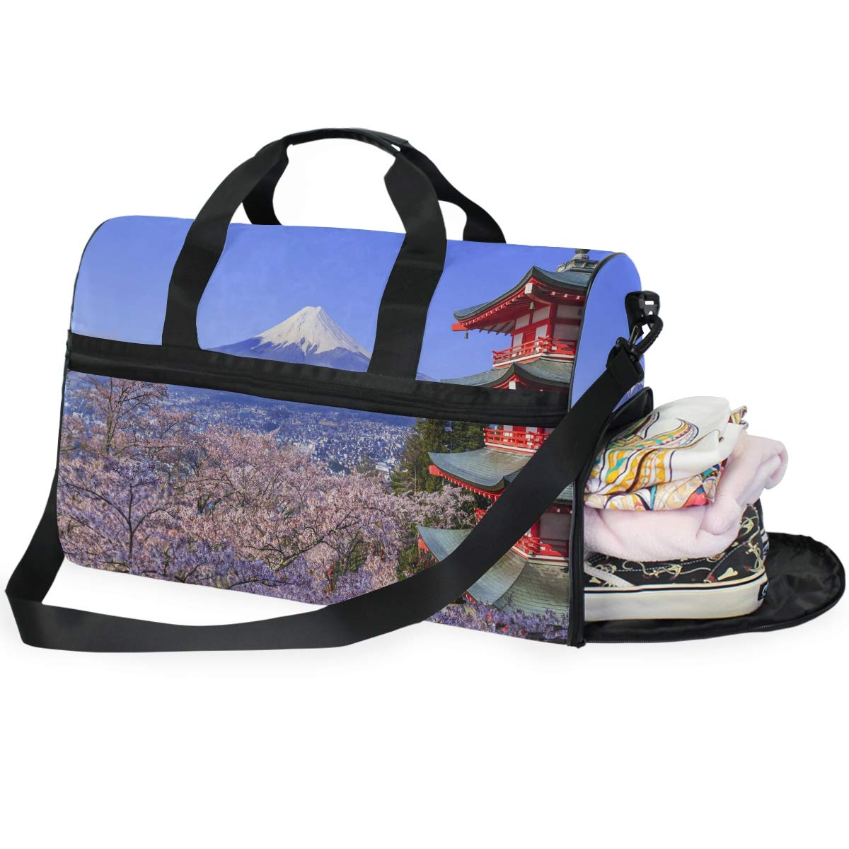 Hippie Flower Large Canvas shoulder bag with Shoe Compartment Travel Tote Luggage Weekender Duffle Bag