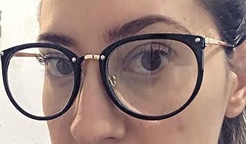 26096e7ab93a7 Óculos Feminino Armação Grau Geek Quadrado Vintage Preto Com Haste Dourada