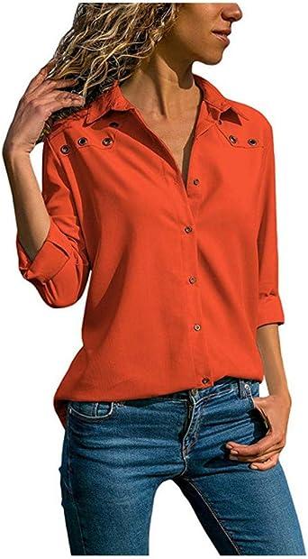 SFYZY Ojal de Color sólido con Cuello en V para Mujer Blusa ...