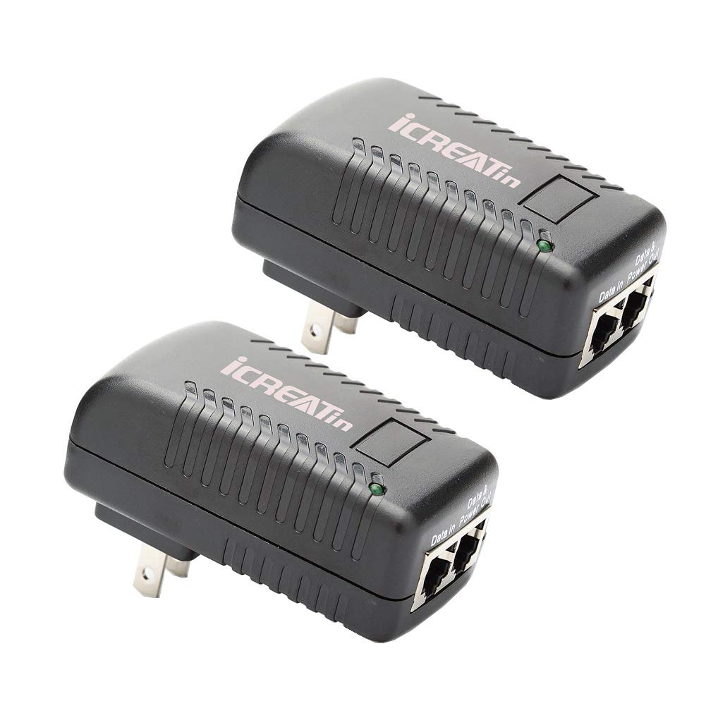 iCreatin 2-Pack Wall PoE Injector Power Over Ethernet Adapter 802.3af 48V 24W 0.5A for Security IP Cameras IP Phones, 10/100Mbps by iCreatin
