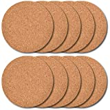 Thirsty Rhino Tiku, Slim Cork Coaster, Natural Cork Finish, Set of 10 (Round)