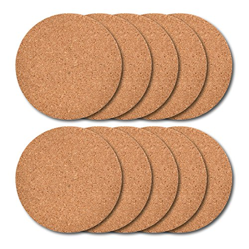 Round Cork Coaster - Thirsty Rhino Tiku, Slim Cork Coaster, Natural Cork Finish, Set of 10 (Round)