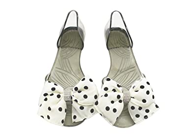 8e4e28f6037 DANDANJIE Women Sandals Fashion Bow Sandals Black and White Transparent  Slippers Fish Mouth Flat Crystal Sandals