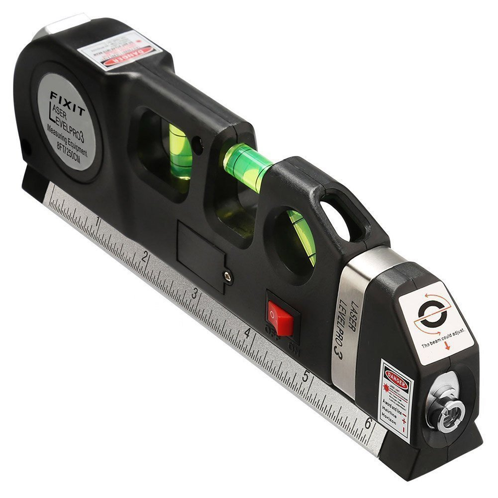Multipurpose Tape Measure, Laser Level Tape Measure Line Adjusted Standard And Metric Rulers Tools For Measurement Construction Indoor Laying