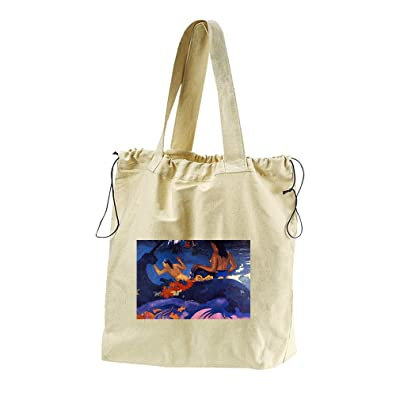 Fatata Te Miti #2 (Gauguin) Canvas Drawstring Beach Tote Bag hot sale