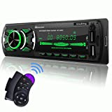 SjoyBring Bluetooth Car Stereo with Wireless SWC Remote and Phone Charging Port, Hands Free Calling, USB/TF Card/Aux-in/FM Radio Receiver with 7 Color Backlight (Color: Bluetooth Stereo with 7 Color)