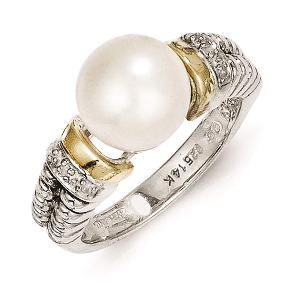 Shey Couture - 925 Sterling Silver w/14k Gold Accent Diamond & Freshwater Cultured Pearl Ring Size 6