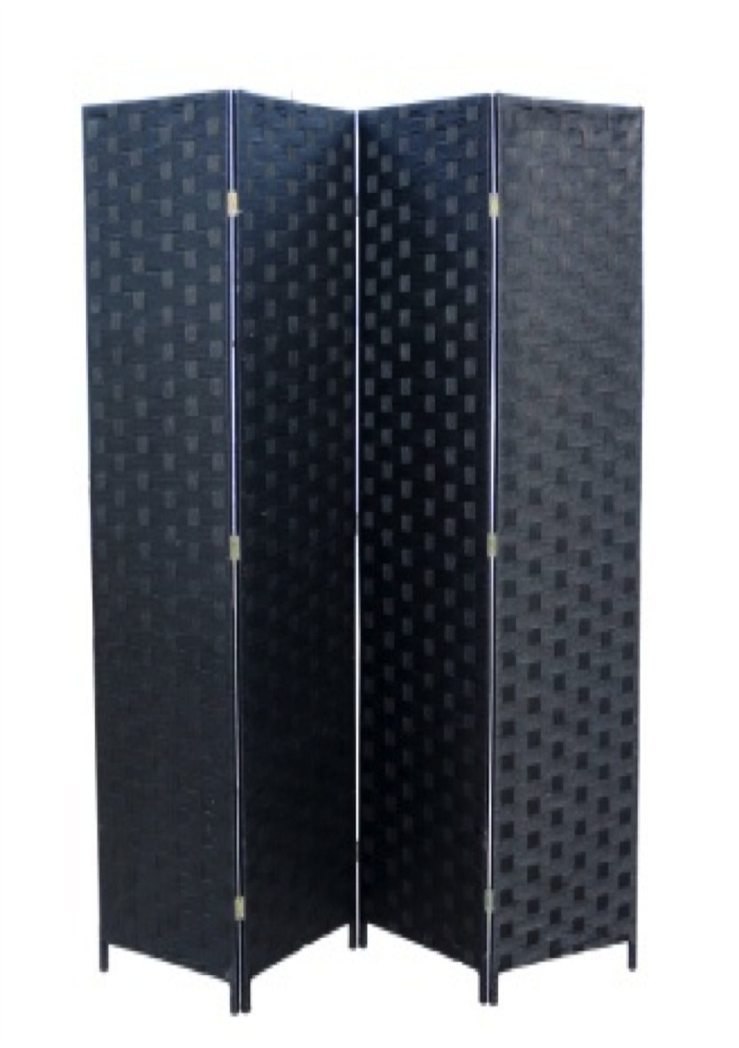 ORE International FW0676SB 4-Panel Screen Room Divider on 2-Inch Wooden Leg, Black Paper Straw Weave by ORE