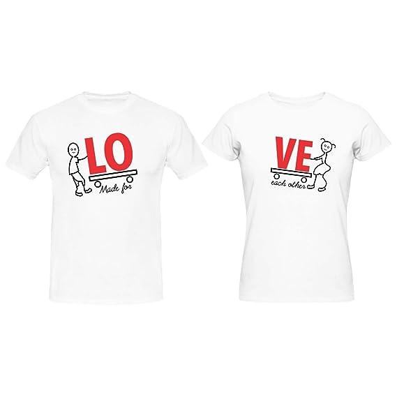 e5ddeee229b66 YaYa cafe Valentine Couple T Shirts Made for Love 100% Cotton Men Women  White -