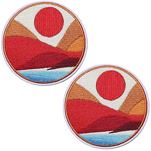 TACVEL The Bright Sun by The Sea Embroidered Patches Iron on Sew / on Emblem Patches Applique for Jackets, Jeans, Backpacks, Caps