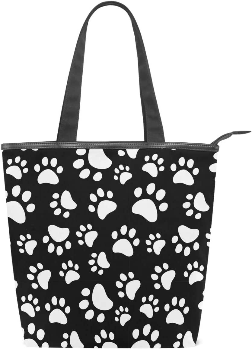 Dog Paws Canvas Tote Bag Cat Pet Footprints Animal Casual Shoulder Bag Handbag with Zipper, Eco-Friendly Reusable Grocery Shopping Bags for Women Girls