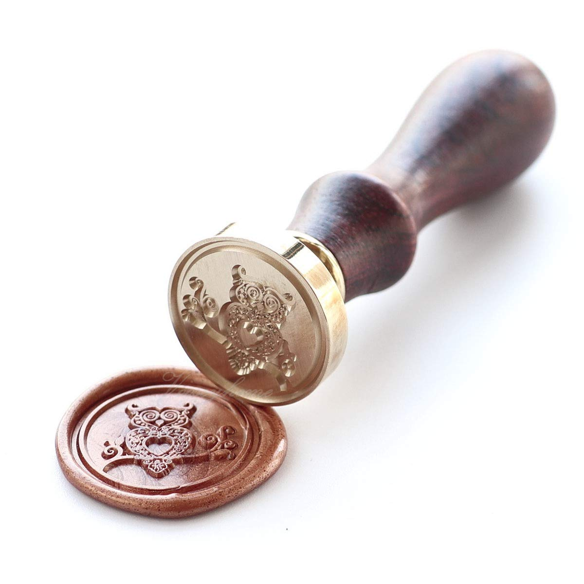 Vooseyhome The Cute Owl Wax Seal Stamp with Rosewood Handle - Ideal for Decorating Gift Packing, Envelopes, Parcels, Cards, Letters, Invitations, Signature and Everything You Like! by VOOSEYHOME (Image #3)