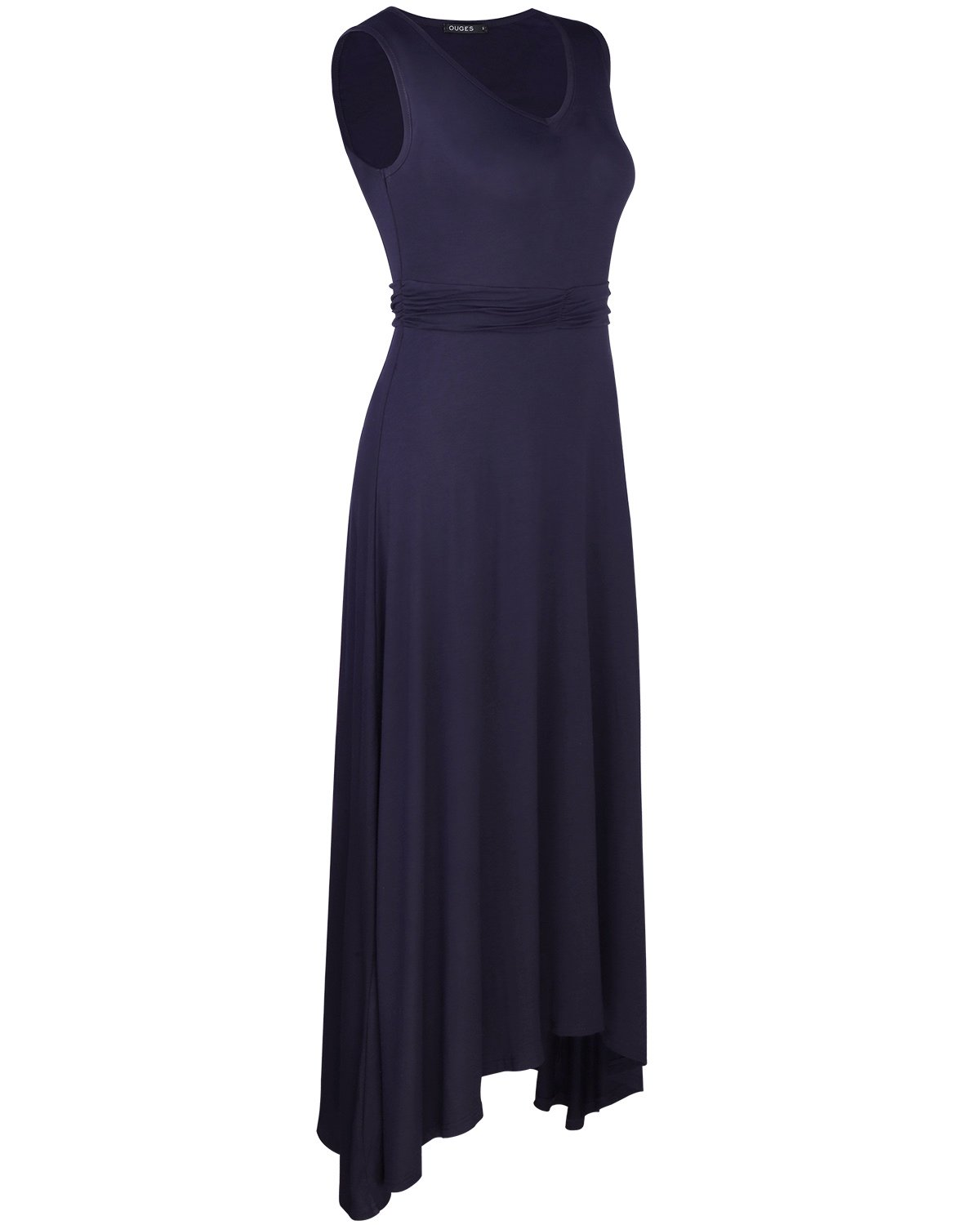 OUGES Women's V Neck Sleeveless Summer Casual Long Maxi Dresses(Navy,S) ¡­ by OUGES (Image #3)