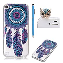 Transparent Case for iPod Touch 5,For iPod Touch 6 Silicone Case,SKYXD Crystal Clear Ultra Thin Shockproof Scratch Resistant Soft Gel TPU Protective Case Cover for iPod Touch 5/Touch 6 with Vintage Pattern Design + 1 x Touch Screen Stylus + 1 x Cute Owl Dust Plug,Dream Catcher