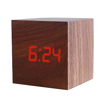 joyliveCY Reloj Despertador Digital LED de Madera, Muestra la Fecha y la Temperatura, Cubo USB/batería-marrón-Rojo: Amazon.es: Hogar