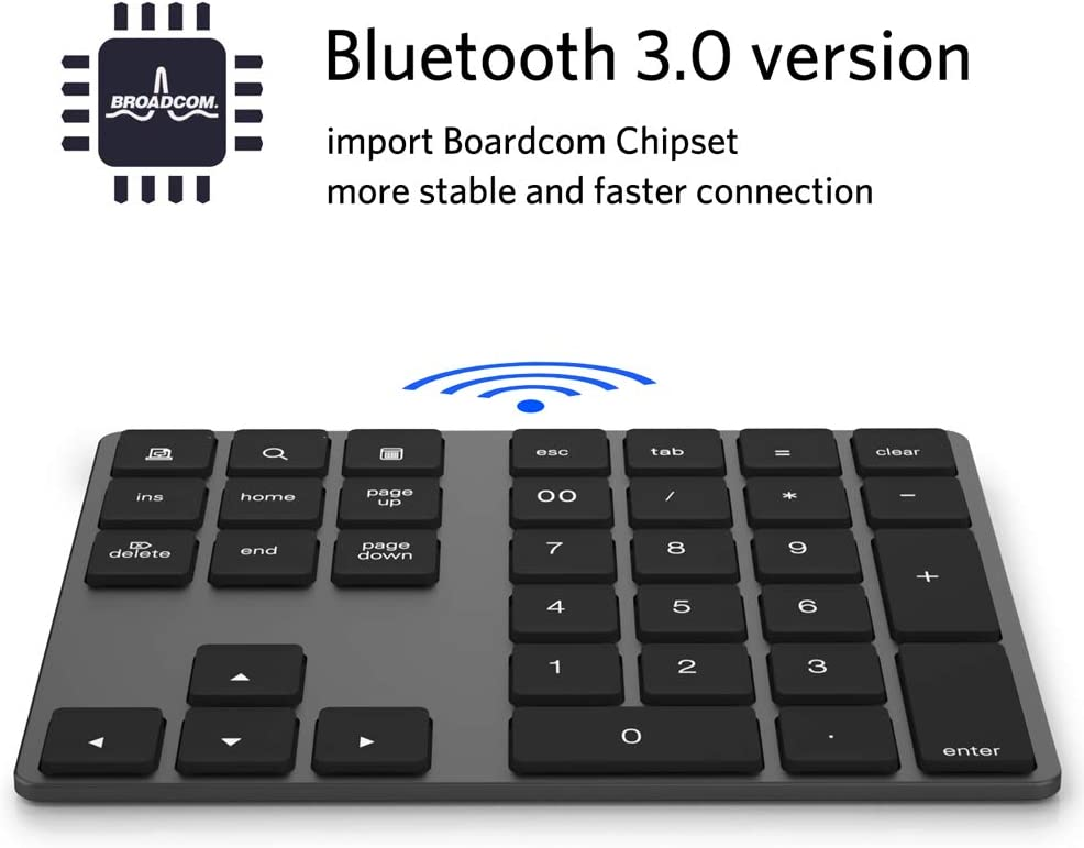 Black Festnight Wireless Numeric Keyboard Aluminium 34 Key BT Keyboard Built-in Rechargeable Battery Keypad for Windows//iOS//Android