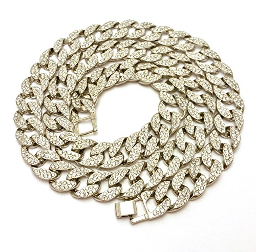 "Mens Iced Out Hip Hop Silver CZ Miami Cuban Link Chain 8"", 9"", 20"", 24"", 30"", 36"" Necklace Bracelet (16"")"