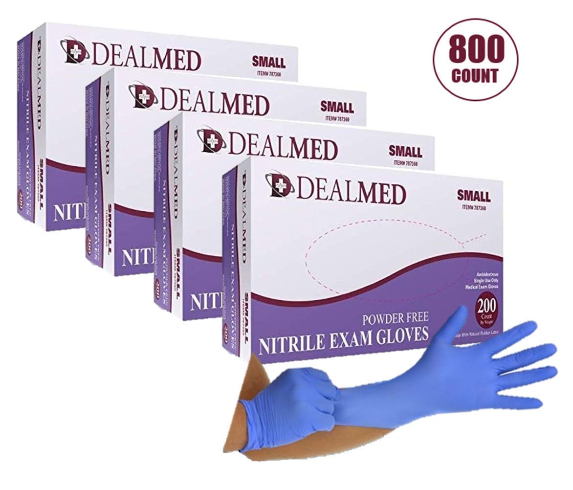 Dealmed Brand Nitrile Medical Grade Exam Gloves, Disposable, Latex-Free, Case of 800 (Small)