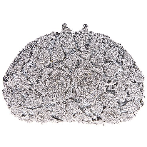 Fawziya Rhinestone Rose Clutch Purse For Party Handbags For Women-Silver