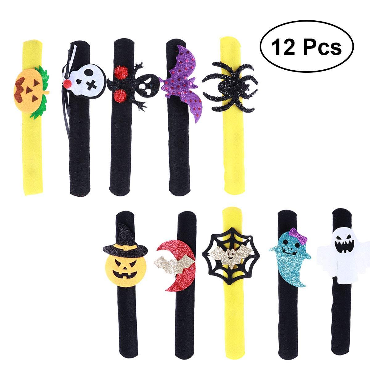 TOYMYTOY 12 Stück Kinder Armbänder für Halloween Partytüten Kürbis Spinne Silikon Armband