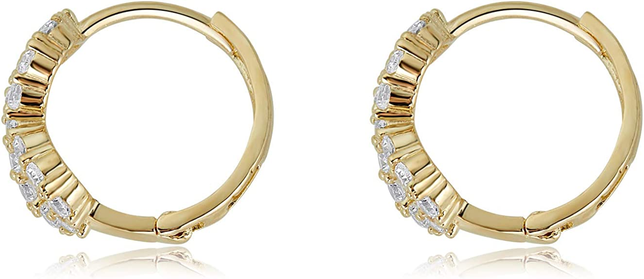 Details about  /Ioka 14K Yellow Gold BG CZ Stone Channel Hoop Hinged Earrings