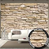 Stonewall photo wallpaper – Asian stonewall light brown mural – stones wall decoration 132.3 Inch x 93.7 Inch