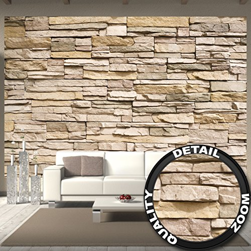 Great Art Wall Mural Stone Optic 3D Mural Decoration Stone Wallpaper Wall Wall Covering Stonewall Slate Sandstone Stone Wall Stonewall I paperhanging Wallpaper Poster Wall Decor (132.3 x 93.7 inch)