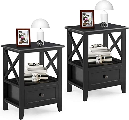 Giantex Nightstand Set of 2 End Tables W/Storage Shelf and Wooden Drawer  for Living Room Bedroom Bedside Accent Home Furniture Side Table (Black)
