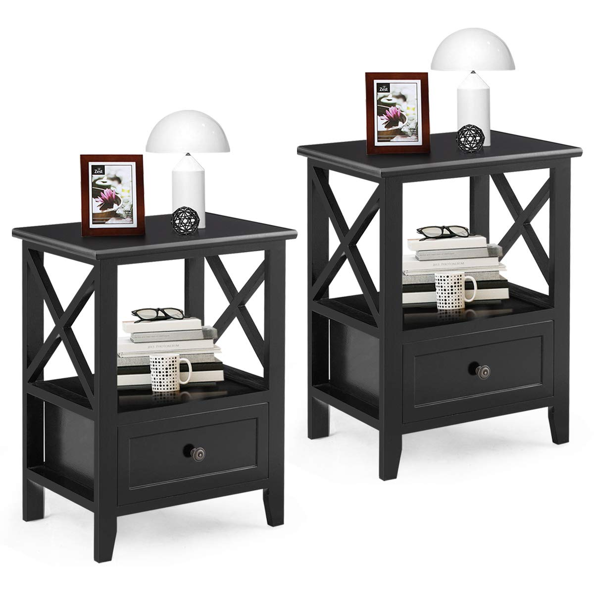 Giantex Nightstand Set of 2 End Tables W/Storage Shelf and Wooden Drawer for Living Room Bedroom Bedside Accent Home Furniture Side Table (Black) by Giantex