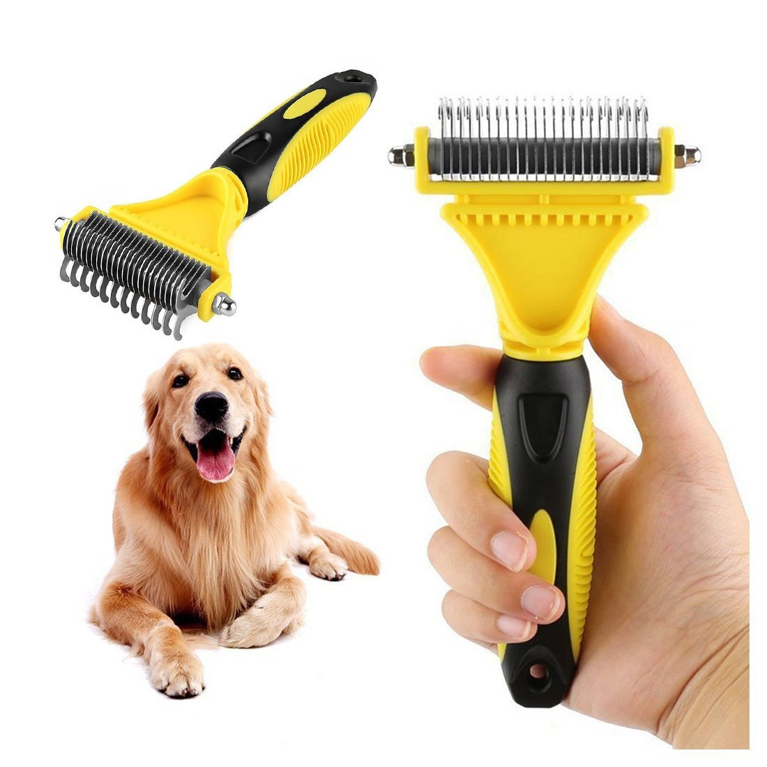 Goldsen Pet Dematting Comb, 2 Sided Undercoat Rake for Cats&Dogs Pet Grooming Tool Removes Undercoat Mats for Small Medium and Large Breeds with Medium and Long Hair for Pet Brush Tool
