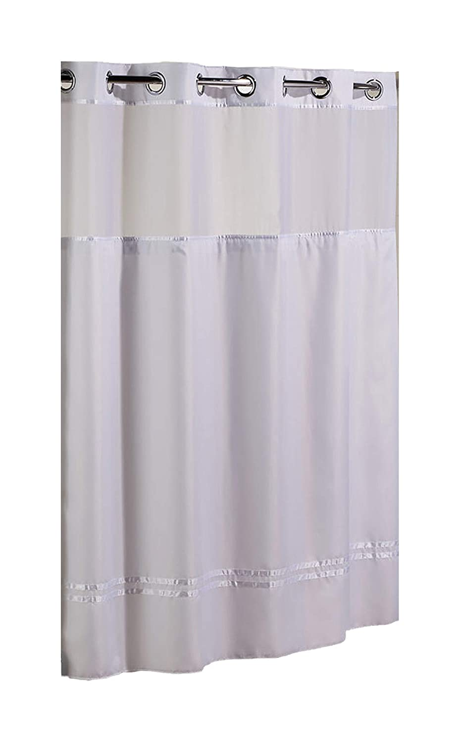 HOOKLESS ESCAPE SHOWER CURTAIN, WITH SNAP IN LINER, BEIGE WITH BEIGE STRIPE, 71 IN. X 74 IN.