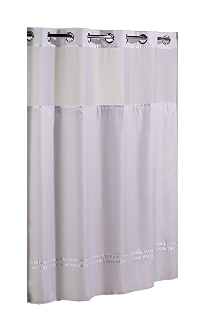 Hookless HBH40E257 Escape Shower Curtain With Snap In Liner White Stripe 71quot