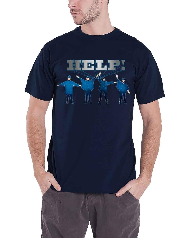 The Beatles T Shirt Help Movie Band Logo offiziell Herren Blau