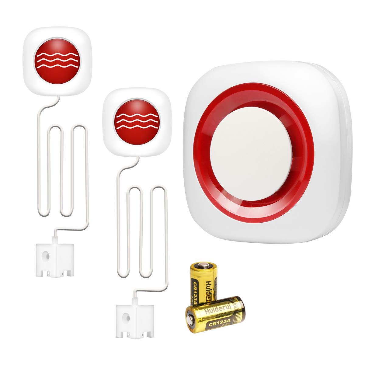 GSM Drahtlos Wassermelder Wassersensor Wasser Alarm Sirene Kabellos mit Batterien KOOCHUWAH