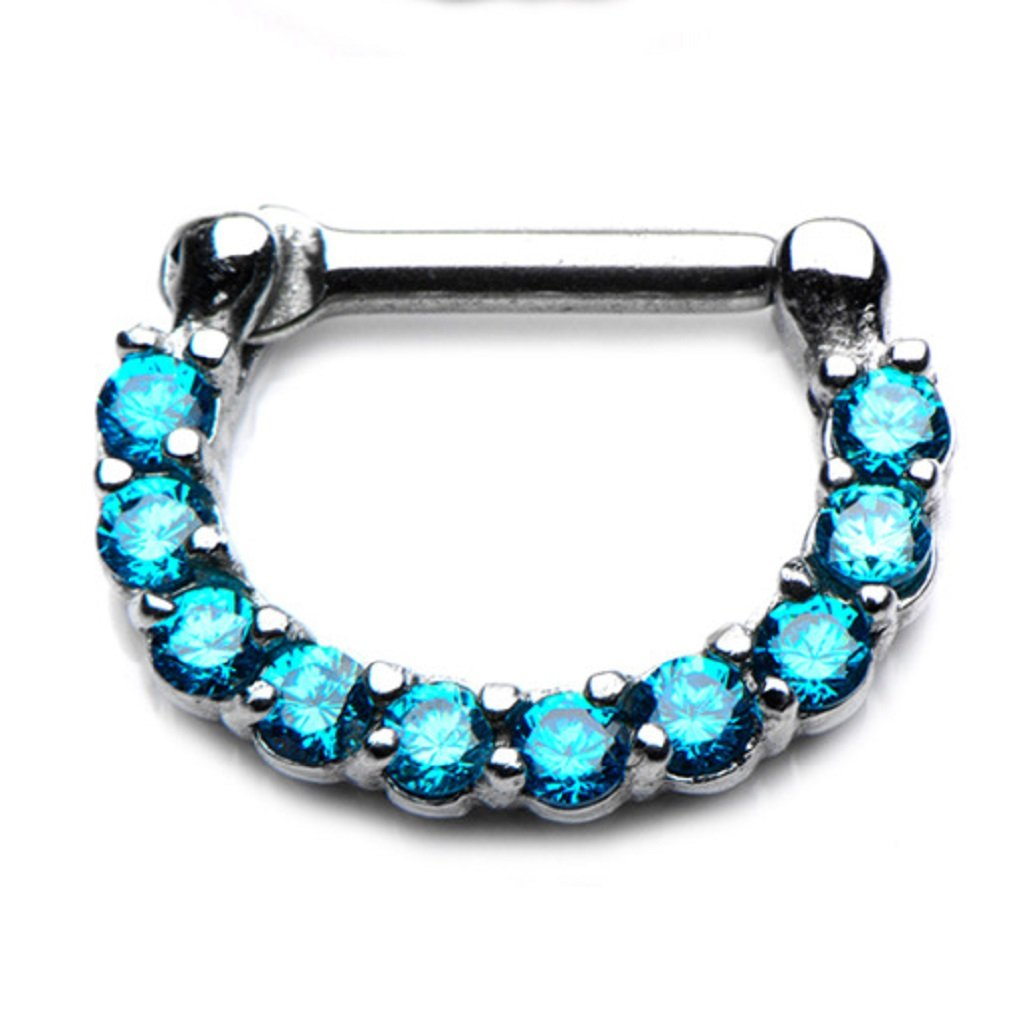 UMBRELLALABORATORY Tribal Organic septum clicker with 16g 9pcs Blue cubic Zirconia nose-ear-lip ring earring body piercing jewelry w 55