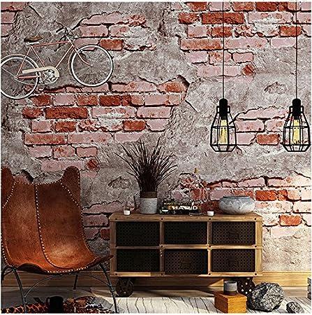 Yosot 3d Retro Mur Brique Ciment Etanche Effet Papier Peint Chambre Salon Restaurant Fond Papier Peint De Gueules