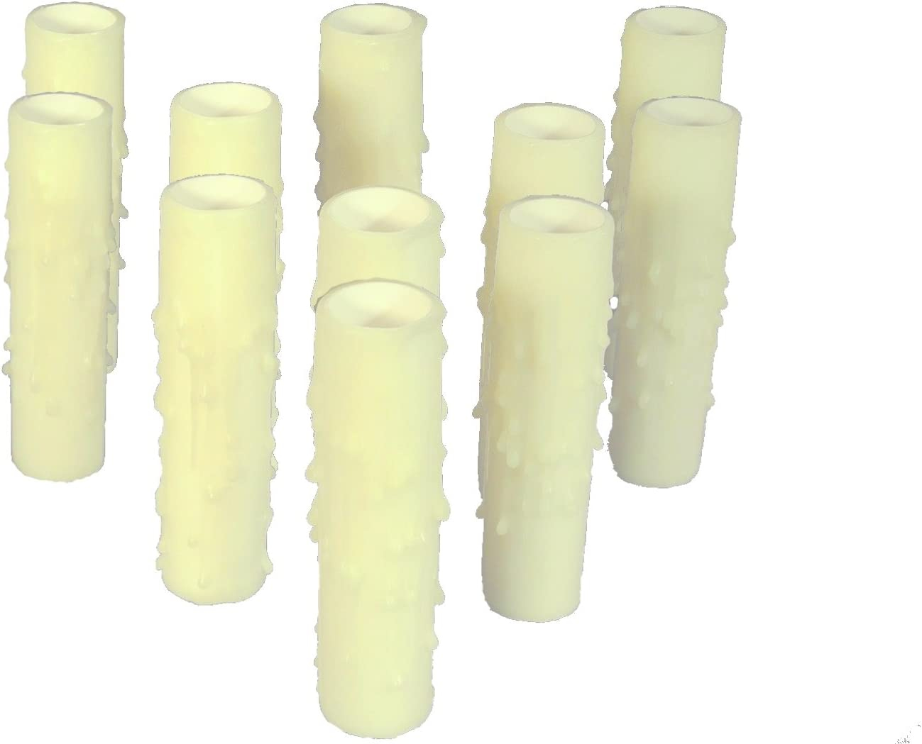 Socket Sleeves Chandelier Socket Covers Set of 12 pc 3 Tall Bone Candelabra Base Thin 3//4 Inner Diameter Beeswax Candle Covers