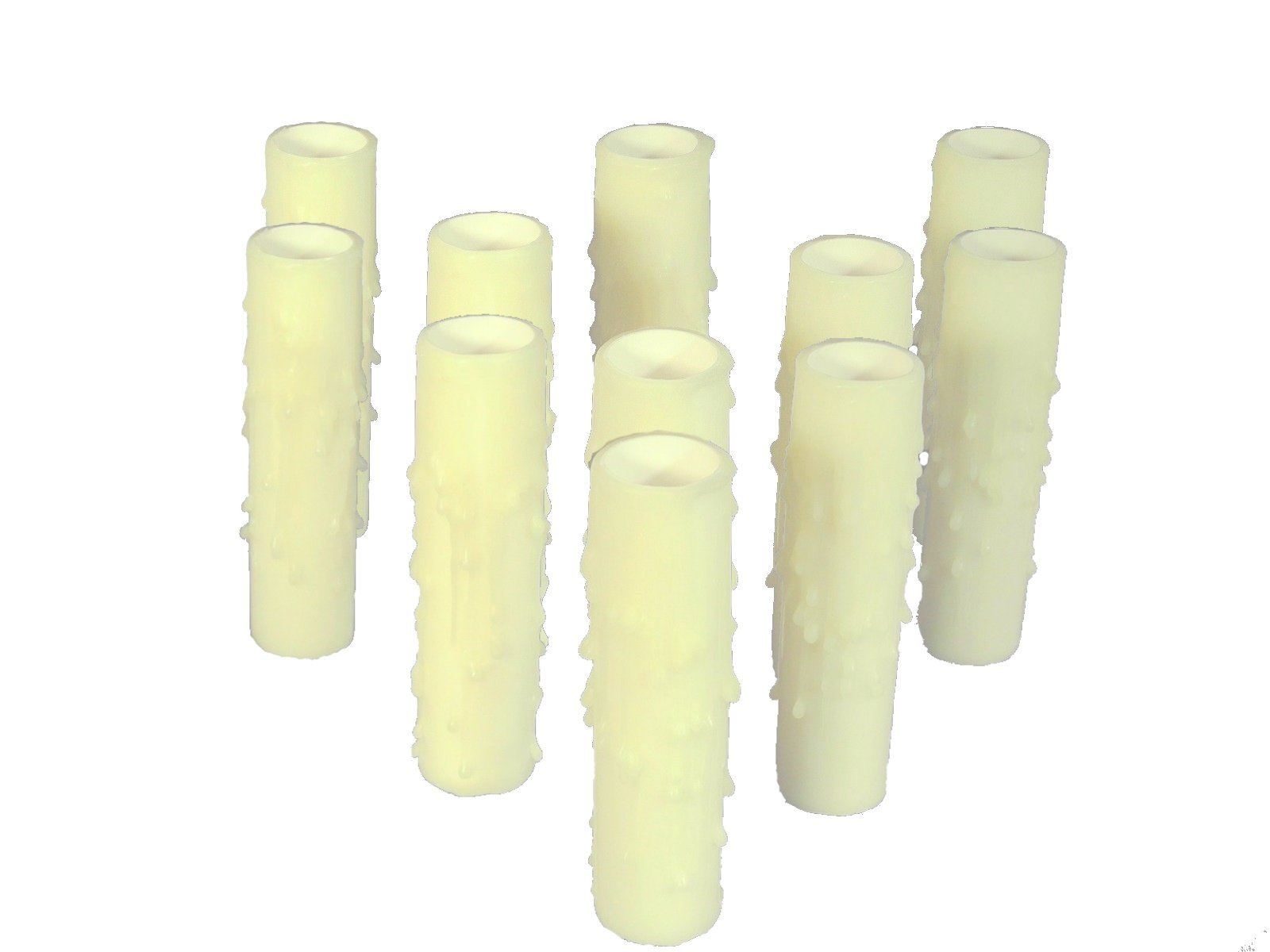 Set of 12 pc. 3'' Tall Bone Candelabra Base Thin 3/4'' Inner Diameter Beeswax Candle Covers, Socket Sleeves Chandelier Socket Covers
