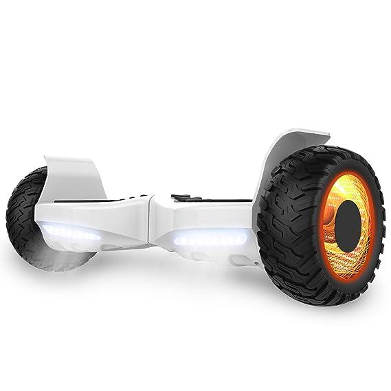 GeekMe Off-Road Scooter Eléctrico Hoverboard Patinete Auto-Equilibrio Todo Terreno Certificado UL Altavoz Bluetooth App con Luces LED