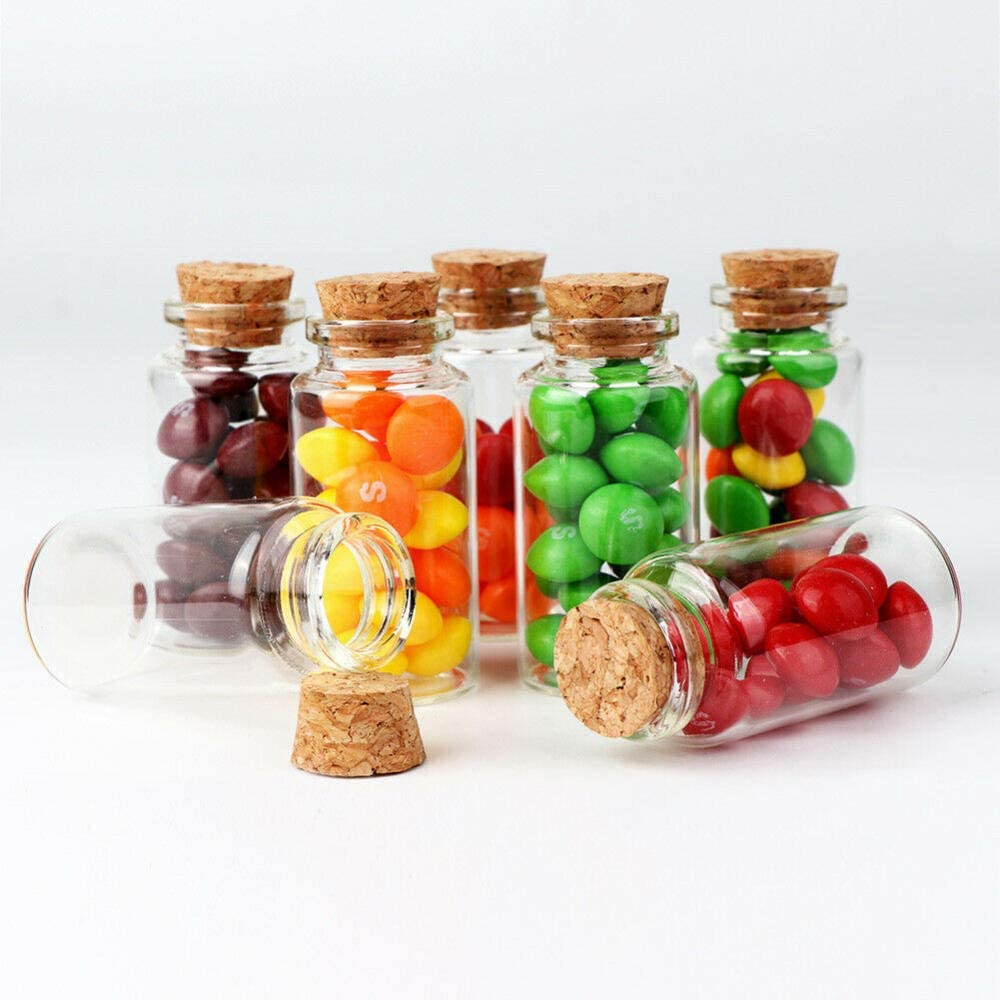 Demonqin 12 Bottiglie di Vetro Trasparente con Tappi di Sughero Mini vasetti di Vetro Fiale da Matrimonio