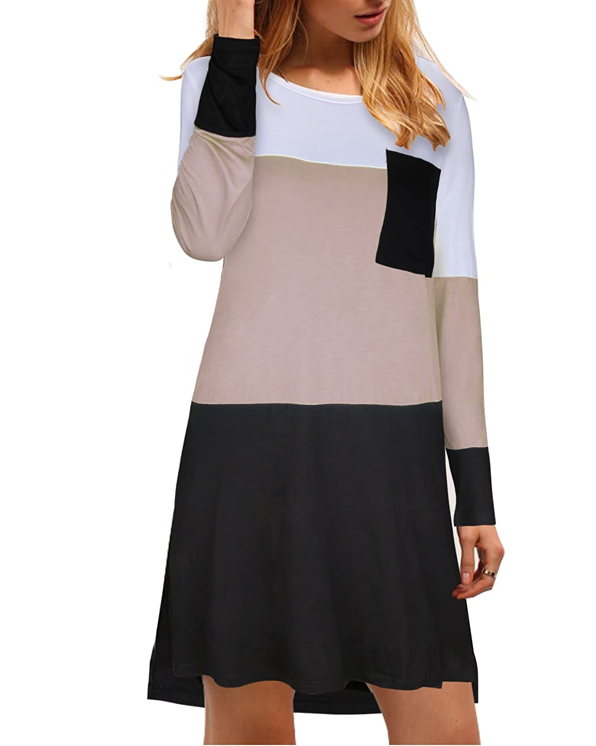 Kilig Women's Long Sleeve Color Block Pocket Loose Casual Dress