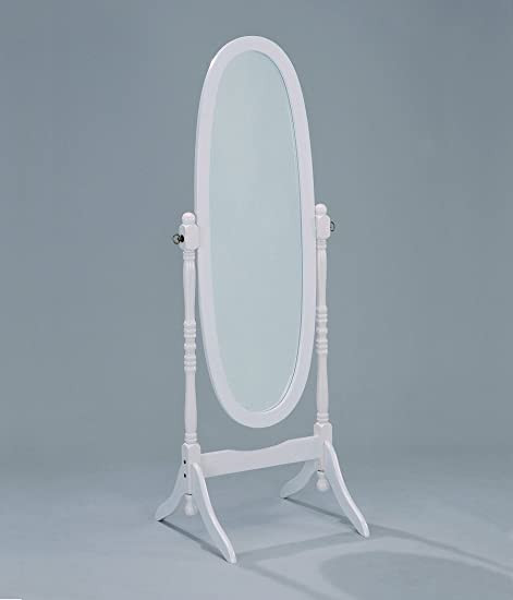 SQF Floor Oval Mirror Hard Wood White