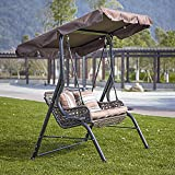 DlandHome Outdoor Deluxe Handmade Rattan Porch Swing, Large Canopy Sling Chair Love Seat