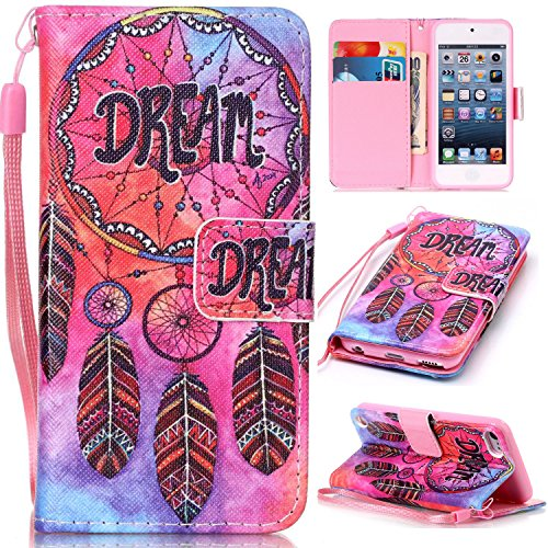 iPod Touch 6 Cases, iPod Touch 5 Wallet Case,Beimu [Card Slots] [Wristlet Strap] [Money Pocket] PU Leather Flip Wallet Case with ID&Credit Card Holder for iPod Touch 6th/5th Generation
